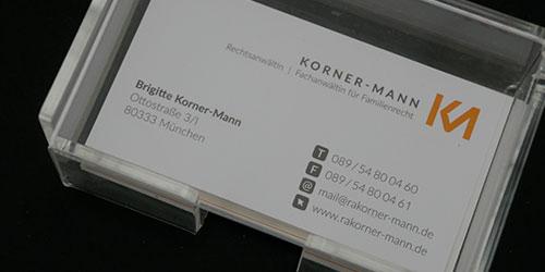 Visitenkartenbox Rechtsanwältin Korner-Mann